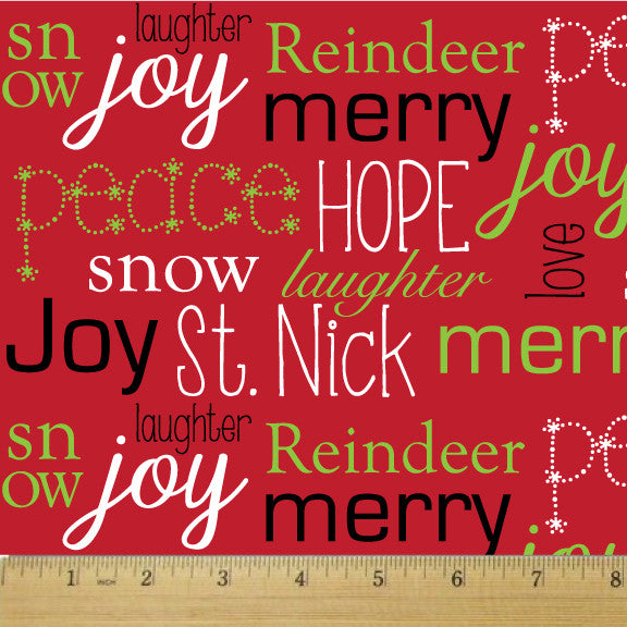 Holiday Red Wordplay Cotton Fabric - RootedUSA
