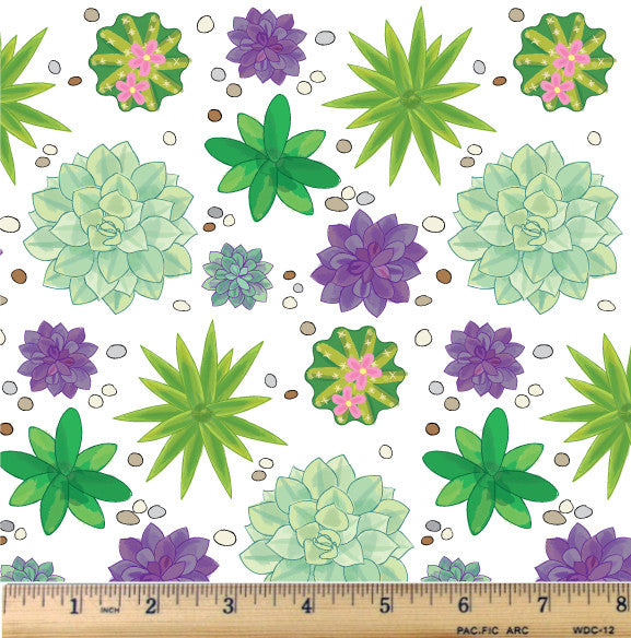 Succulents Galore Cotton Fabric By The Yard - RootedUSA