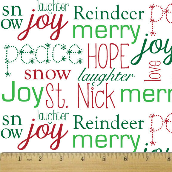 Holiday White Wordplay Cotton Fabric - RootedUSA