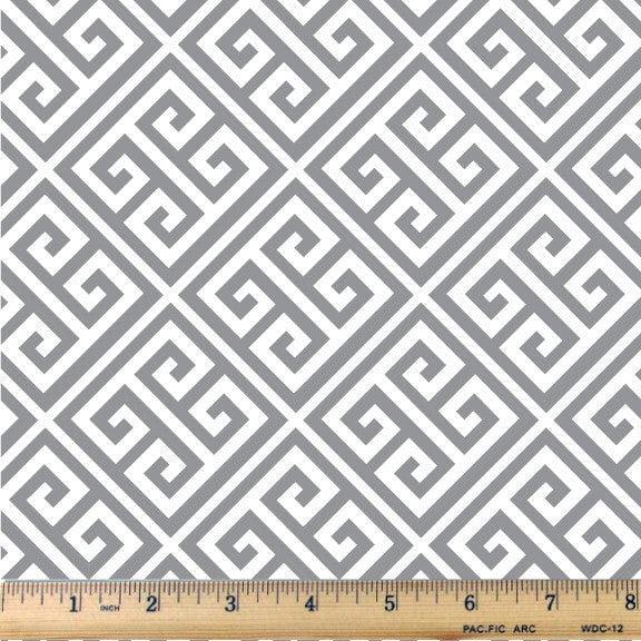 Ash Gray Bias Greek Key Cotton Fabric - RootedUSA