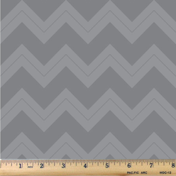 Ash Gray & Soft Gray Chevron Cotton Fabric - RootedUSA