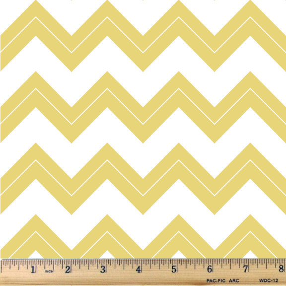 Buttercup Yellow & White Chevron Cotton Fabric - RootedUSA