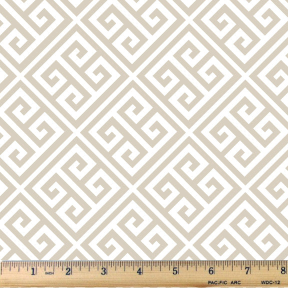 Soft Sand Bias Greek Key Cotton Fabric - RootedUSA