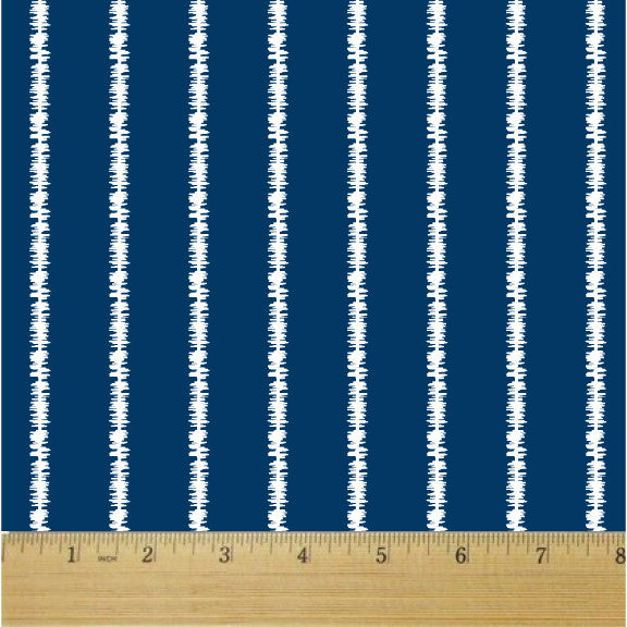 Ikat Pinstripes Navy and White Cotton Fabric - RootedUSA