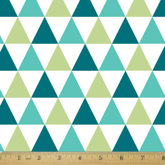 Scout Triangle Jumble Aqua Cotton Fabric - RootedUSA