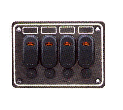 SWITCH PANEL,4 GANG BLACK