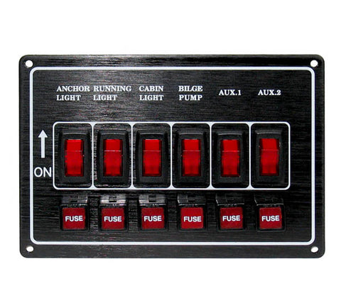 SWITCH PANEL,BLACK 6 GANG