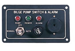 Automatic bilge pump switch and alarm panel