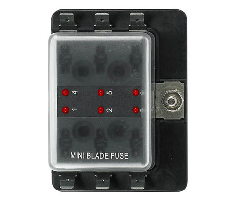 12 Volt Atm Style Fuse Blocks W/ Led Indicator 6 Gang