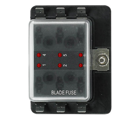 12 Volt Ato Style Fuse Blocks W/ Led Indicator 6 Gang
