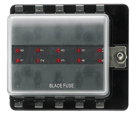 12 Volt Ato Style Fuse Blocks W/ Led Indicator 10 Gang