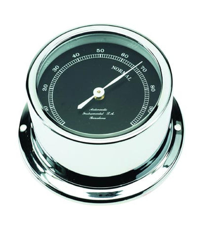 HYGROMETER,CHROME W/BLACK