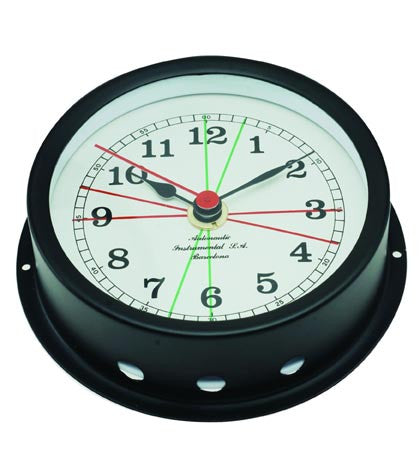 CLOCK,BLACK ALU 95MM FACE