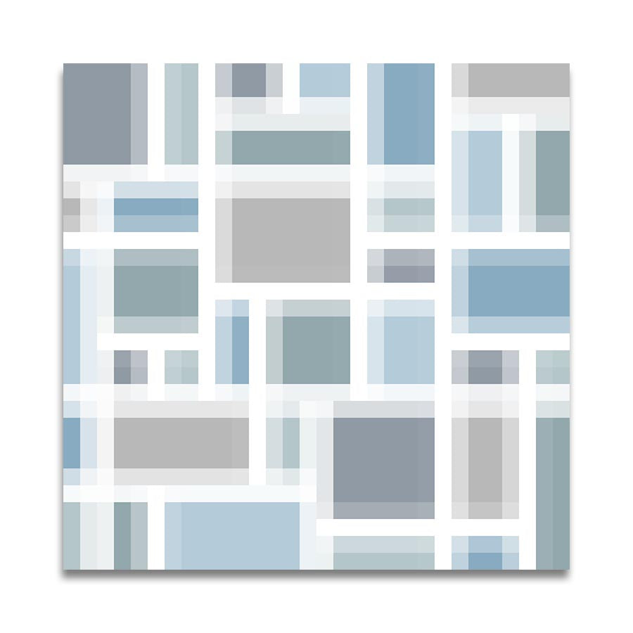 BLOCK 1 OFFSET in Blue Green Grey with White