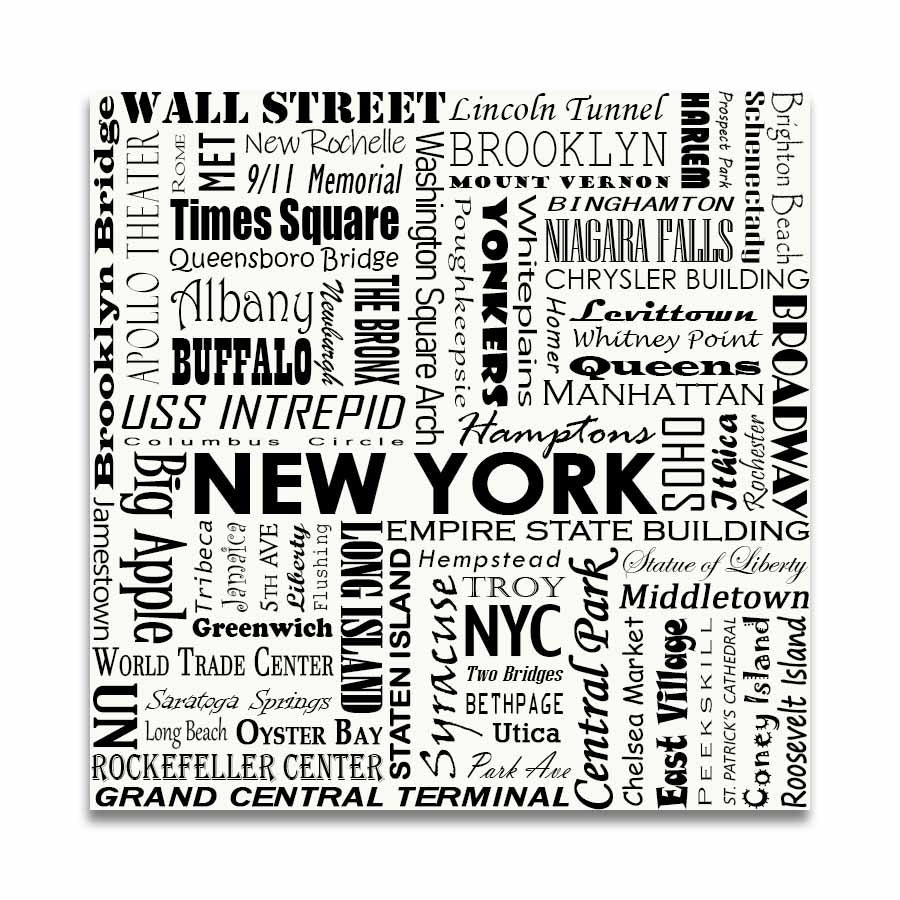 NEW YORK TYPOGRAPHY - White