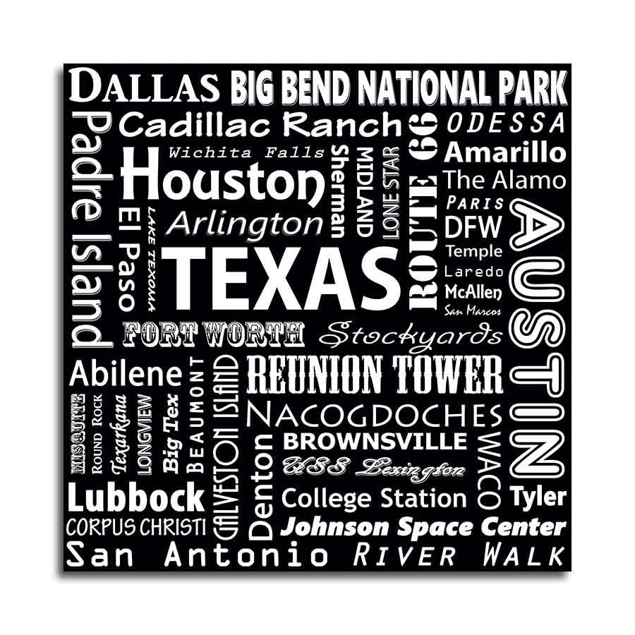 TEXAS TYPOGRAPHY - Black