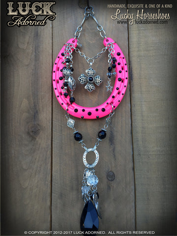 BETSEY - Hot Pink, Rock n Roll Lucky Horseshoe