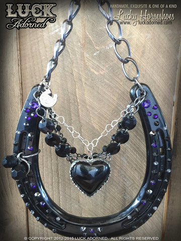 """Black Heart"" Luck Adorned Lucky Horseshoe"