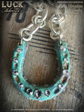 1604 Lucky Horseshoe necklace, horseshoe necklace, good luck necklace, lucky necklace, silver, big, chunky, bold and badass, patina