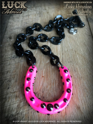 1606 Lucky Horseshoe necklace, horseshoe necklace, fun jewelry, lucky necklace, black chain, big, chunky, bold and badass, hot pink, neon