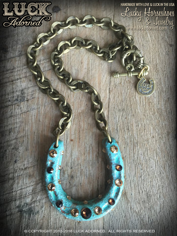 1607 Lucky Horseshoe necklace, horseshoe necklace, good luck necklace, lucky necklace, antiqued brass, big, chunky, bold and badass, patina