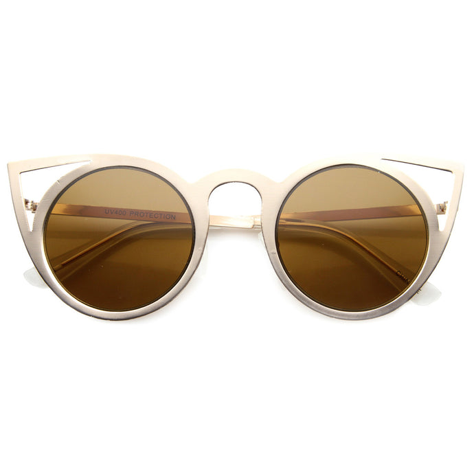 Laser Cat Eye Sunglasses - Gold