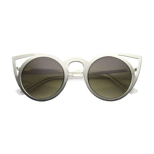 Laser Cat Eye Sunglasses - Silver