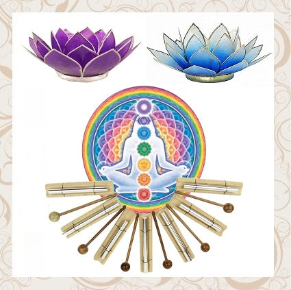 Chakra Candles, Holders and Chime Bars