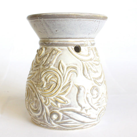 Ceramic Oil Burner - Elegant Leaves and Bird Design-Oil Burner-Serenity Gifts