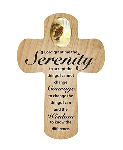 Cross Pocket Token in Wood - Serenity Prayer-Pocket Token-Serenity Gifts