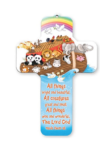 All Creatures Great and Small - Noah's Ark Wooden Cross-Baptism & Christening-Serenity Gifts