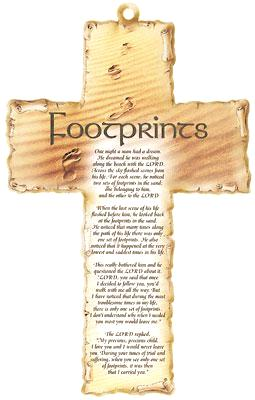 Wood Plaque Cross - Footprints Verse-Plaque-Serenity Gifts