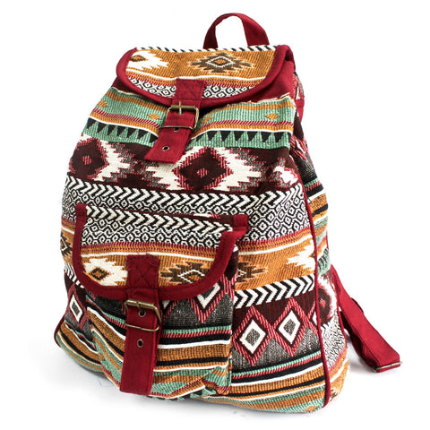 Jacquard Backpack - Brown Mix-Bag-Serenity Gifts