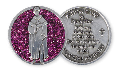 Glitter Pocket Token - Saint Peregrine Cancer Patients - Serenity Gifts