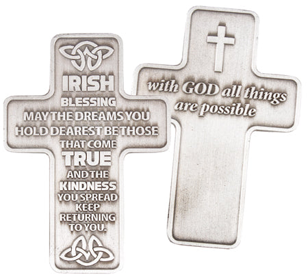 Metal Cross Pocket Token - Irish Blessing-Pocket Token-Serenity Gifts
