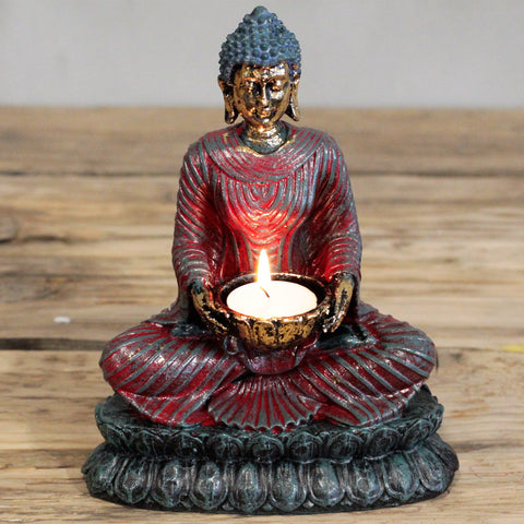 Antique Buddha Tea Light Candle Holder - Red-Tea Light Holder-Serenity Gifts