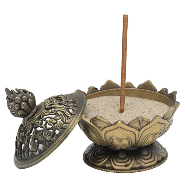 Lotus Incense Burner - Bronze-Incense-Serenity Gifts