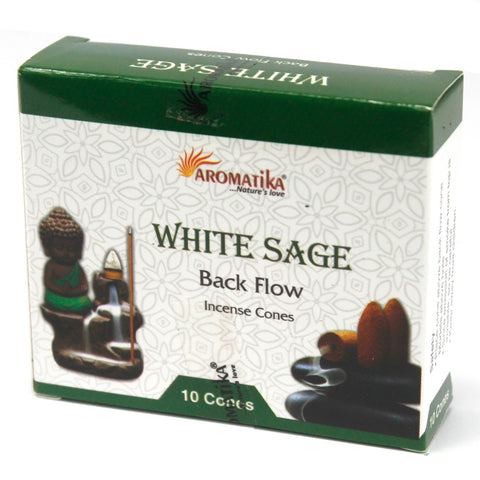 Aromatika Natural Backflow Incense Cones - White Sage-Incense-Serenity Gifts