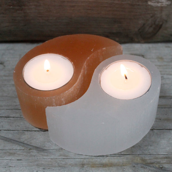 Candle Holder Yin and Yang - Selenite-Candle Holder-Serenity Gifts
