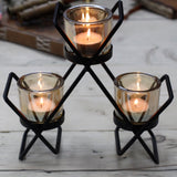Centrepiece Iron Candle Holder - Triangle 3 Glass Cups-Candle Holder-Serenity Gifts