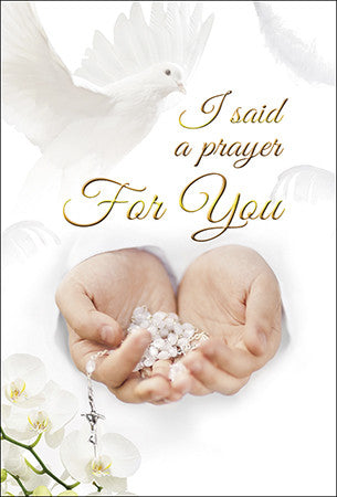 Religious I Said A Prayer For You Greeting Card - Dove and Rosary-Greeting Card-Serenity Gifts