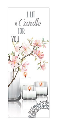 Greeting Card - I Lit A Candle For You (Pink Blossom)-Greeting Card-Serenity Gifts