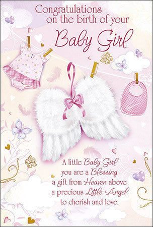 Greeting Card Baby - Congratulations Baby Girl-Baptism & Christening-Serenity Gifts