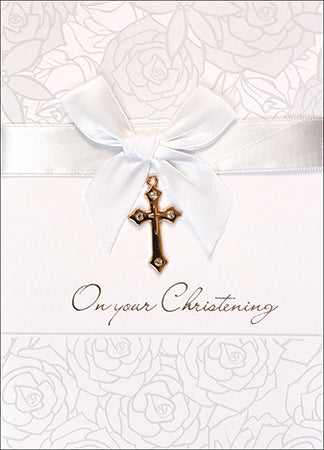 Greeting Card Christening - Gold Cross-Baptism & Christening-Serenity Gifts