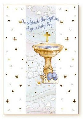 Greeting Card Baptism Font - Boy-Baptism & Christening-Serenity Gifts