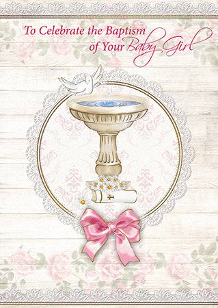 Greeting Card Baptism Dove and Font - Girl-Baptism & Christening-Serenity Gifts