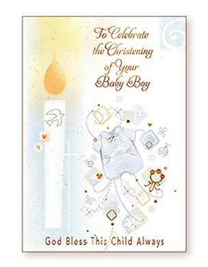 Greeting Card Christening - Candle Boy-Baptism & Christening-Serenity Gifts