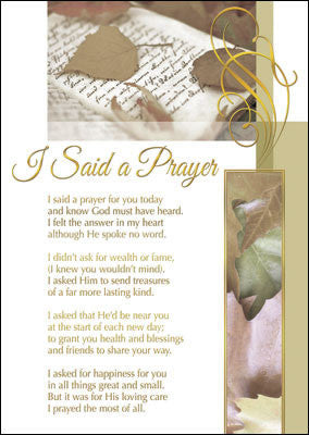 Religious I Said A Prayer For You Greeting Card - Leaves-Greeting Card-Serenity Gifts