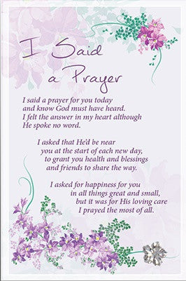 Glass Plaque - I Said A Prayer Verse-Plaque-Serenity Gifts
