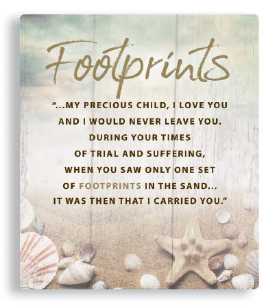 Footprints Prayer Porcelain Plaque-Wall Plaque-Serenity Gifts